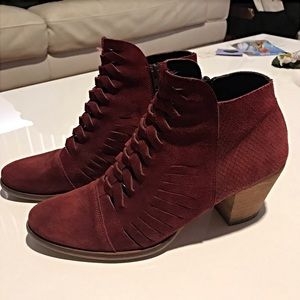 Free People Suede Booties With Stacked Wooden Heel